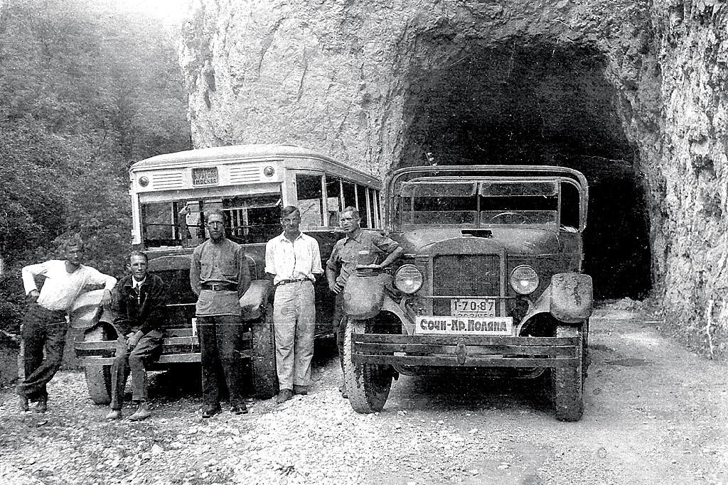 Архивное фото автобуса в Красную Поляну из Сочи