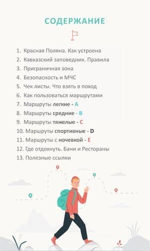 Содержание путеводителя по Красной Поляне